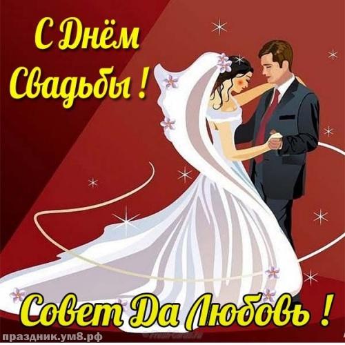 Скачать жизнерадостную картинку с днем свадьбы, красивое поздравление в прозе! Переслать в telegram!