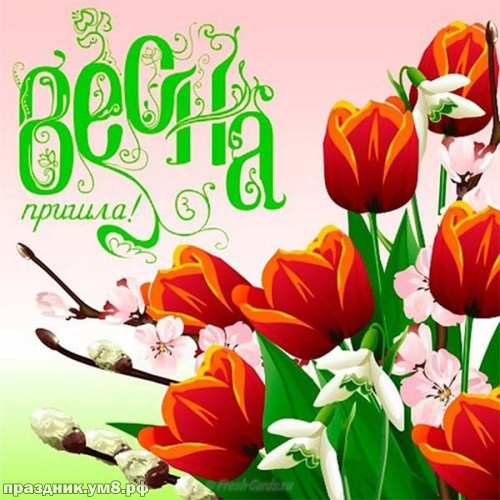 Скачать онлайн таинственную открытку с первым днём весны, дорогие друзья! Ура! Весна идёт, весне дорогу! Переслать в пинтерест!
