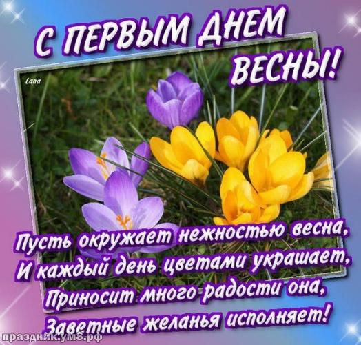 Скачать праздничную картинку (открытки с первым днём весны, картинки с первым днём весны, 1 марта) с праздником, друзья! Поделиться в pinterest!