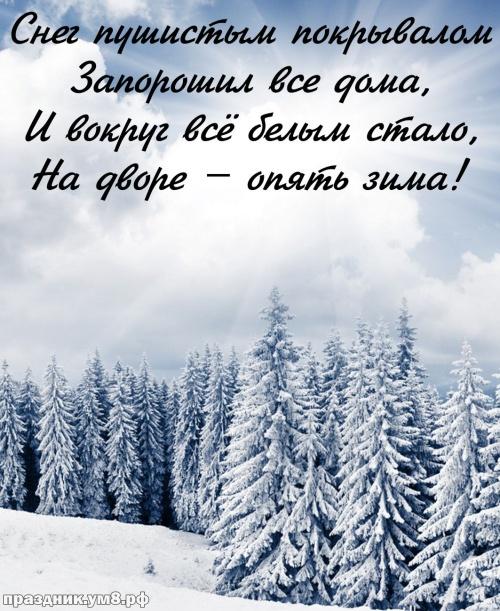 Найти гармоничную картинку с первым днём зимы (красивые открытки на 1 декабря)! Пожелания своими словами! Для инстаграм!