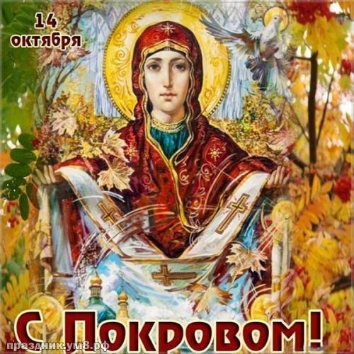 Скачать бесплатно тактичную картинку с покровом Пресвятой Богородицы, с праздником, дорогие! Для инстаграма!