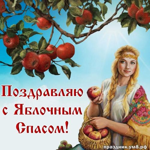 Скачать бесплатно блистательную открытку с яблочным спасом, лучшие картинки на яблочный спас, с праздником! Переслать в telegram!